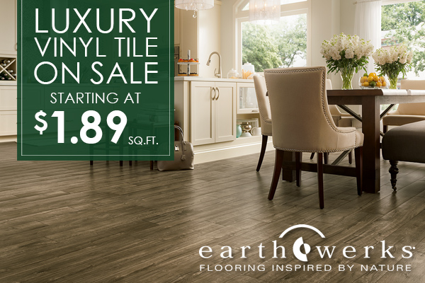 EarthWerks Luxury Vinyl Tile on sale starting at $1.89 sq.ft. at J & S Flooring in Georgetown, SC.